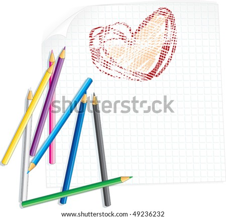 Child's drawing for mom -vector illustration