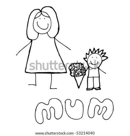 поздравительный рисунок матери от мальчика