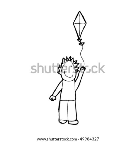 Child'S Drawing Of A Boy Flying A Kite Stock Vector ...