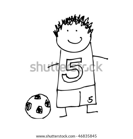 Boy Playing Soccer Drawing Child's Drawing of a Boy