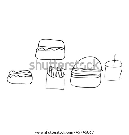 child's drawing of fast food