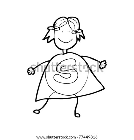child's drawing of super heroine