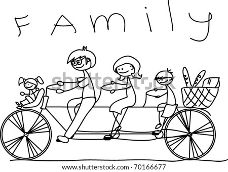 child's drawing of the family on a bicycle, vector - stock vector