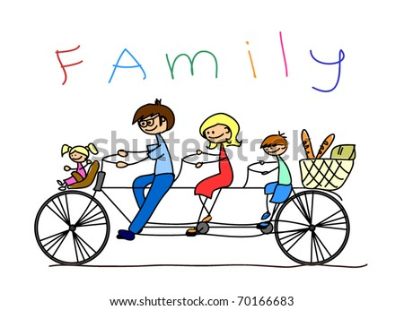 child's drawing of the family on a bicycle, vector