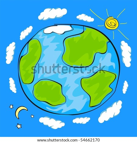 Child's drawing of the planet Earth - stock vector