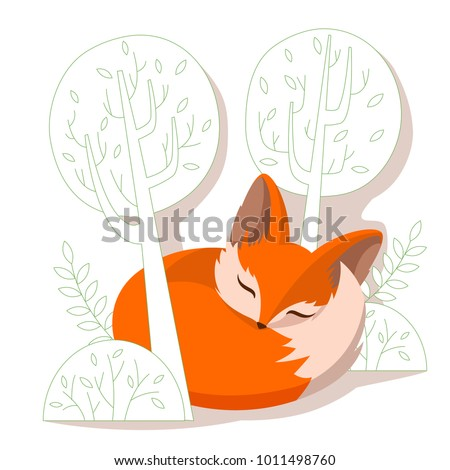 Child's vector illustration of a sleeping fox among trees. Fox in a flat style isolated on a white background