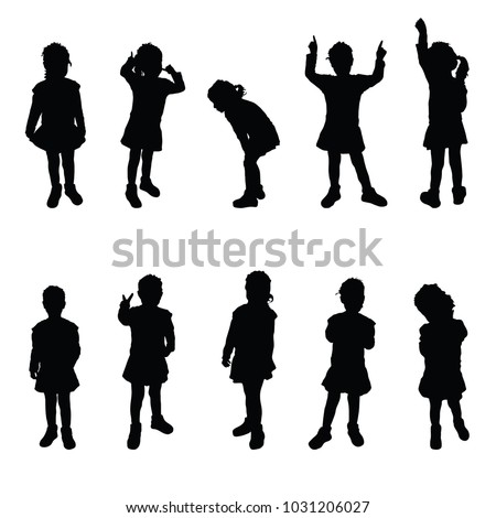 child silhouette cute girl poses on white