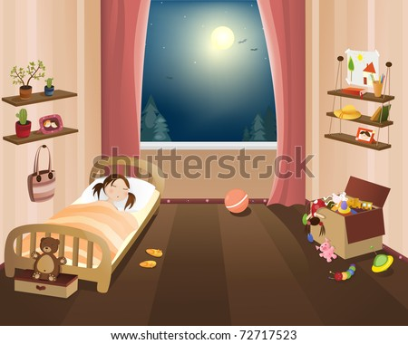 child sleep in nursery  vector