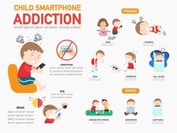 Child smartphone addiction infographic,vector illustration