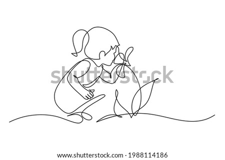 Child smelling flower in continuous line art drawing style. Small girl squatted down to sniff the fragrant flower. Black linear sketch isolated on white background. Vector illustration Photo stock ©
