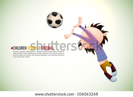 Child Soccer Player Goalkeeper Faults Toward the Football | EPS10 Vector Background | Layers Organized and Named Accordingly - stock vector