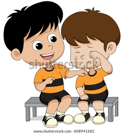 Child solace of his friends.vector and illustration.