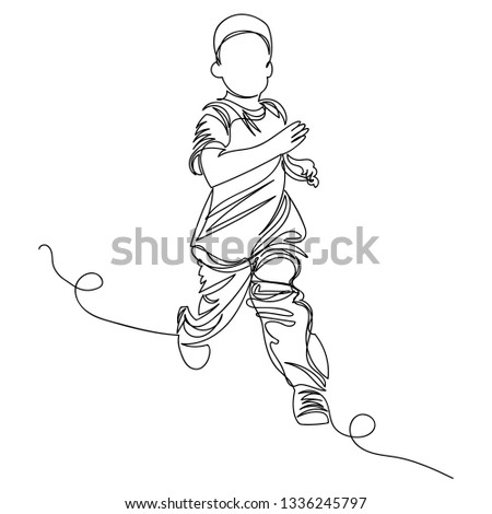 child. the child runs. one line. drawing a continuous line