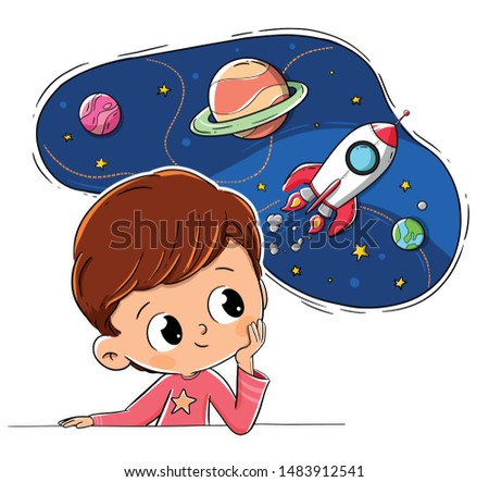 child thinking or imagining space