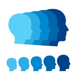Child to adult transition, boy becoming man. Head profile silhouettes of human age. Vector graphics illustration.