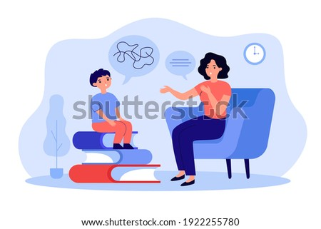 Child training basic language skills with speech therapist isolated flat vector illustration. Cartoon little boy improving his language. Articulation problem and speech therapy concept