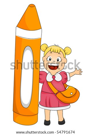Child with Crayon - Vector