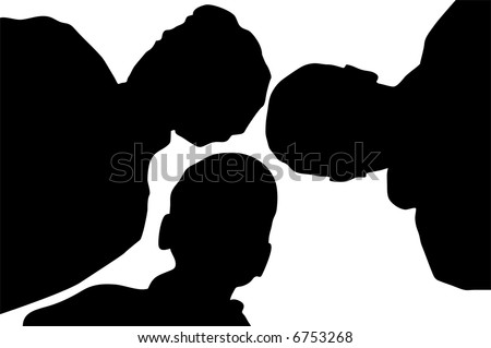 child with family from down vector