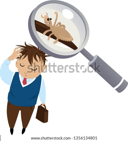 Child with pediculosis: a head louse under a magnifying glass, EPS 8 vector illustration