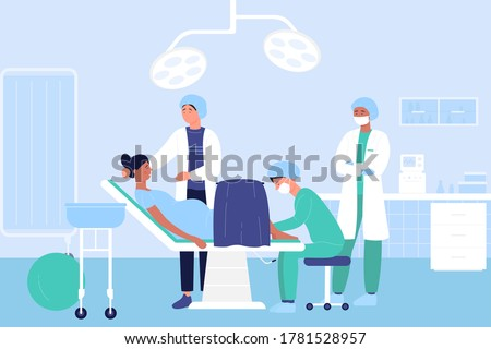 Childbirth in hospital flat vector illustration. Cartoon doctor characters examining pregnant woman patient in medical clinic perinatal centre before baby birth. Maternity hospital ward background Stock photo ©