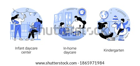Childcare services abstract concept vector illustration set. Infant daycare center, in-home daycare, kindergarten, early kid development, nursery home, toddler early education abstract metaphor.