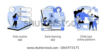Childcare technology solutions abstract concept vector illustration set. Kids routine and early learning app, child care online platform, newborn application, babysitter search abstract metaphor.