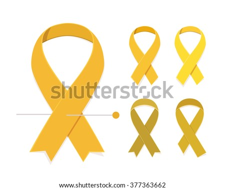 Childhood cancer awareness concept Set of five gold vector flat ribbons isolated on white background