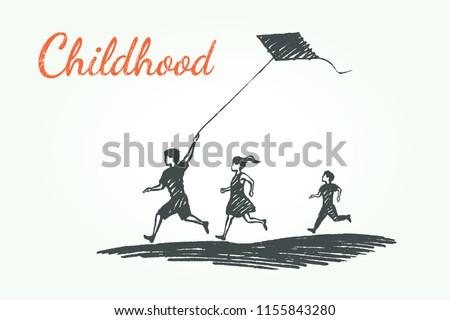 childhood concept sketch boys
