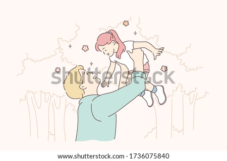 Childhood, fatherhood, game concept. Cartoon characters young man father playing with daughter, holding happy child girl in hands at park. Family fathers day and active summer recreation illustration.