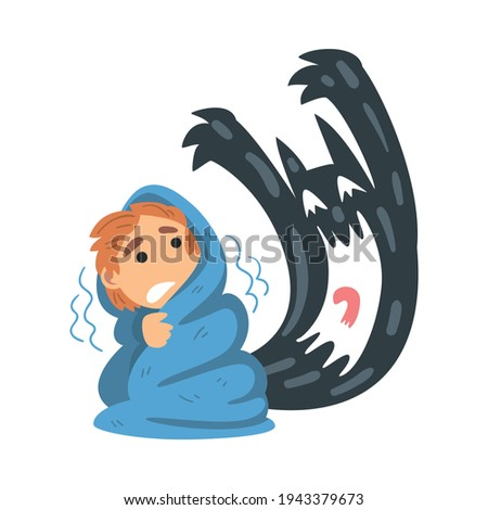 Childhood Fear with Scary Monster Frightening Little Boy Covered with Blanket Vector Illustration Photo stock ©