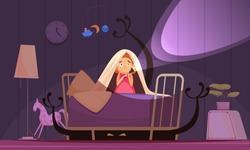 Childhood fears background with nightmares and bad dreams symbols vector illustration