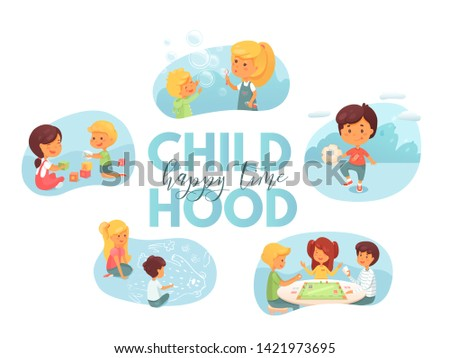 Childhood hobbies flat vector characters set. Cute children playing board games, football cartoon characters. Girl blowing soap bubbles. Kids drawing chalk pictures on asphalt, stacking cubes