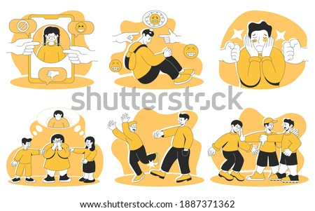 Childhood Problems concept. Mockery, bullying at school and cyber-bullying. Sad teenage girl and boy suffering from fat body shaming, abusive text message, stress at school, bullying by classmate vector illustration Photo stock ©