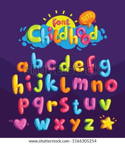 childhood vector color font. cartoon letters for kids design inscription