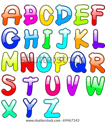 childish alphabet - stock vector