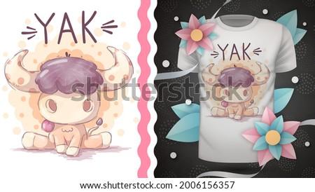 Childish cartoon character animal yak Stok fotoğraf ©