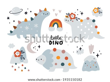 Childish collection with cute baby dino. Dinosaur animals, mom and baby dino, family of dinosaurs. Vector cartoon doodle set of nature elements for design