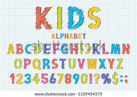 Childish Font And Alphabet In School Style Pencil Scribbles Stylized English With Numbers