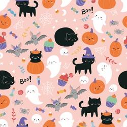 Childish Halloween seamless pattern. Cute cartoon black cats, sweets, bats, pumpkin and ghosts on pink background. Kawaii style illustration.