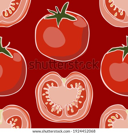 childish hand drawing. Seamless circular red tomato cartoon element pattern for wallpaper, banner, label or any usage. vector design. Сток-фото ©