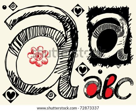 childish hand drawn alphabet, crazy doodle A