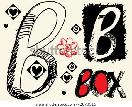 childish hand drawn alphabet, crazy doodle B