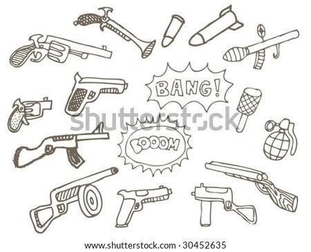 childish hand drawn weapons