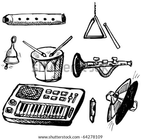 Childish Musical Instruments Doodles