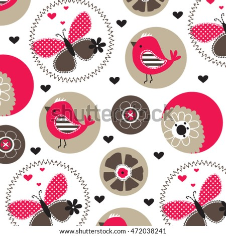 childish pattern with bird and