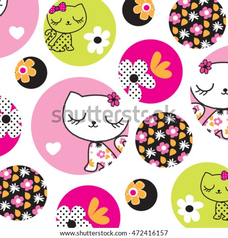 childish pattern with cats and