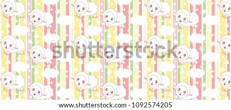 stock-vector-childish-pattern-with-cute-sheeps-on-abstract-vector-striped-pattern-with-colored-vertical