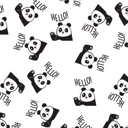 Childish pattern with panda animal faces. Creative nursery background. Perfect for kids design, fabric, wrapping, wallpaper, textile, apparel