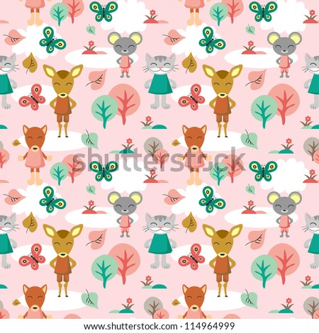 Childish seamless background with animals