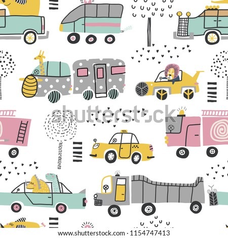 Childish seamless pattern with cute cars, lion, elephant and dinosaurs. Perfect for kids fabric, textile, nursery wallpaper. Vector Illustration. Scandinavian style. Pastel colors.